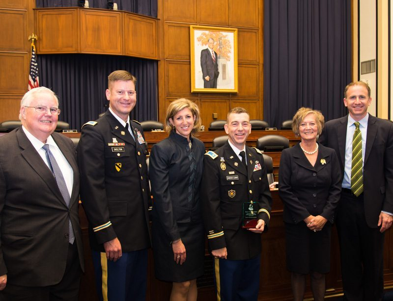 Pictured left to right, Rex Buffington, Stennis Center for Public Service; Col. Jim Skelton, son of Ike Skelton; Terry Babcock-Lumish, wife of Brian; Major Brian Babcock-Lumish, Skelton Award winner;  Patty Skelton, widow of Ike Skelton; and Andy Rich, Truman Scholarship Foundation.
